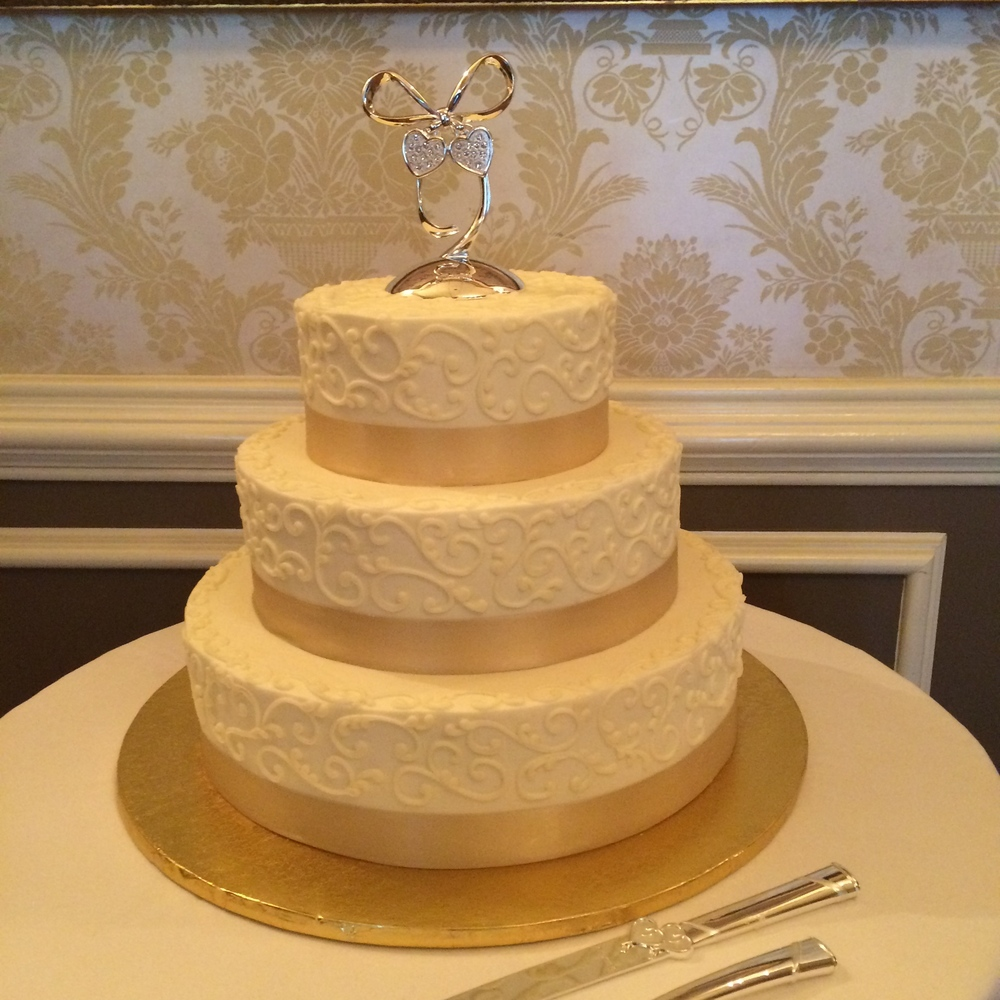 Champagne Satin and Scroll Wedding Cake