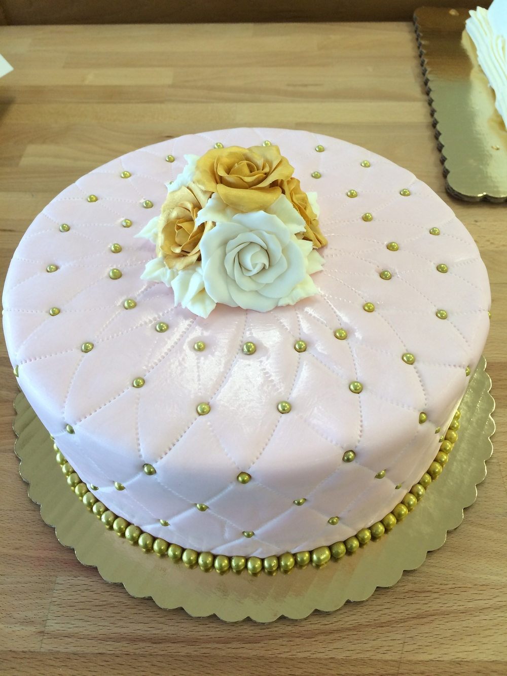 Golden Pearls Celebration Cake