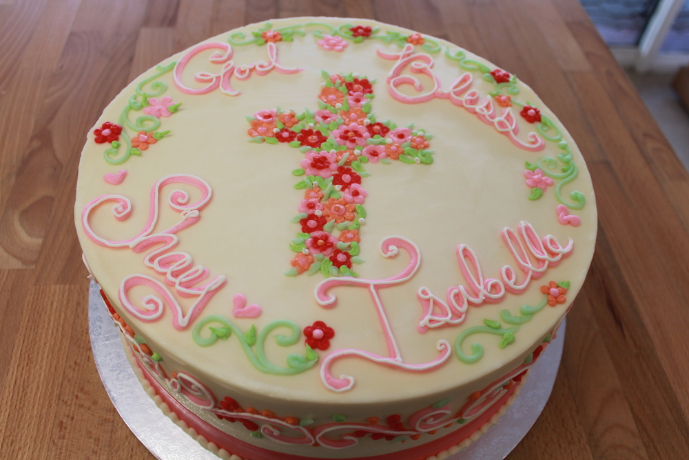Pretty Flowers Cross Cake