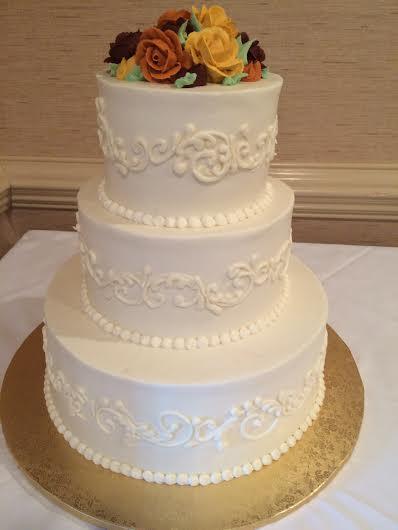 Fall Flowers Wedding Cake