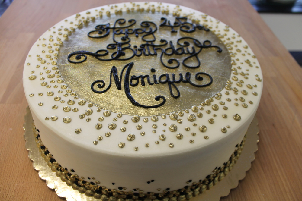 Black and Golden Dots Birthday Cake