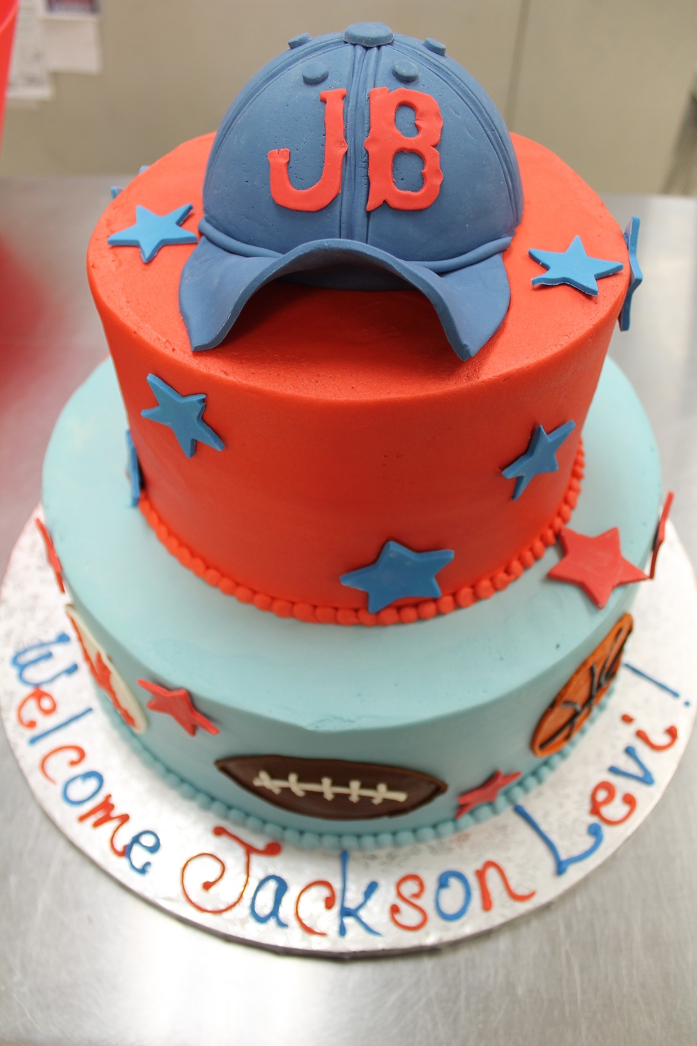 Sports Loving Baby Shower Cake