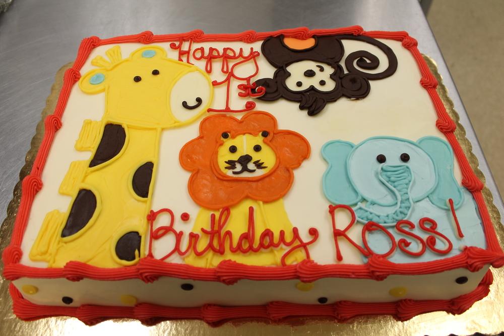 Elephant, Giraffe, Monkey and Lion Cake