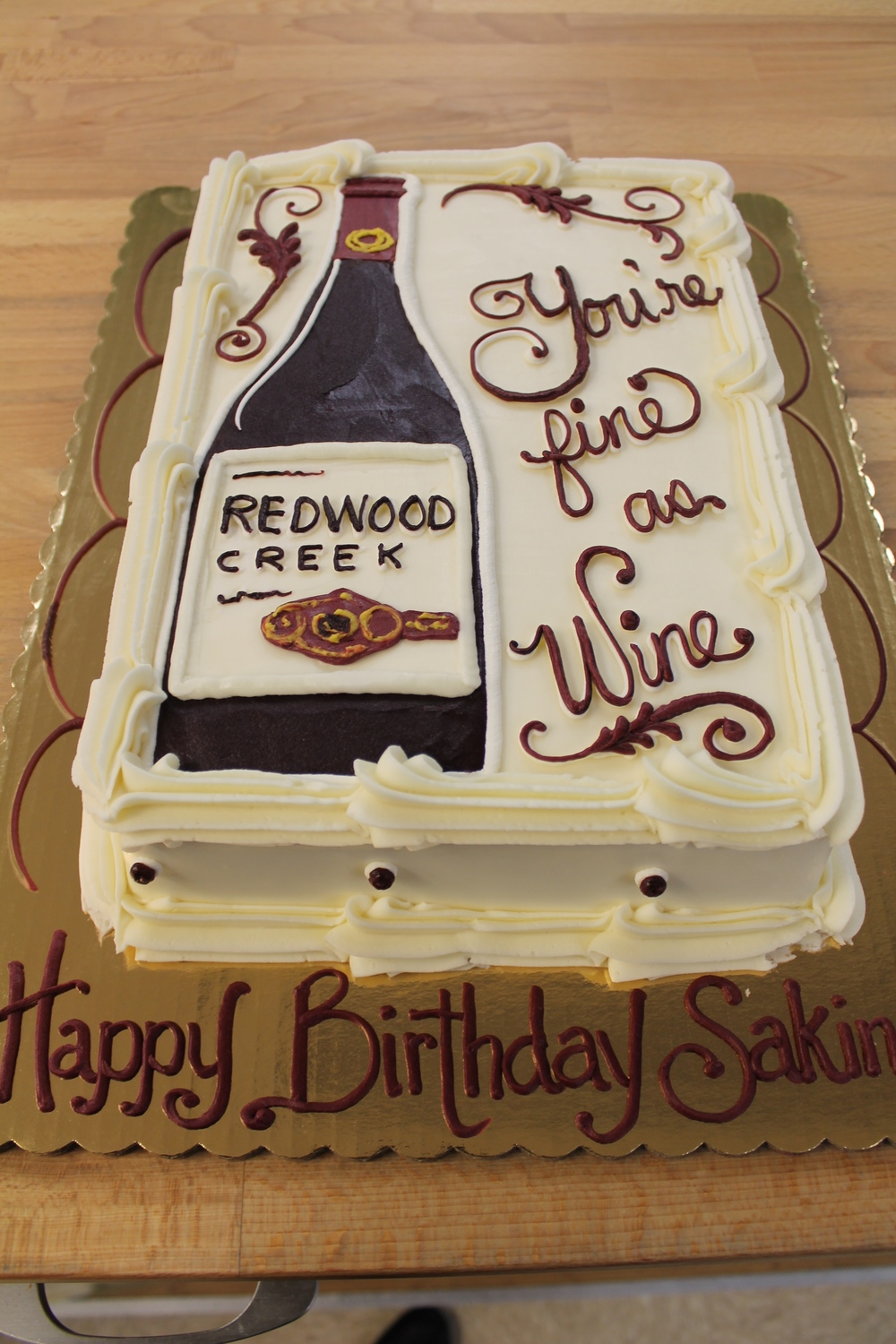 Wine Is Fine Birthday Cake