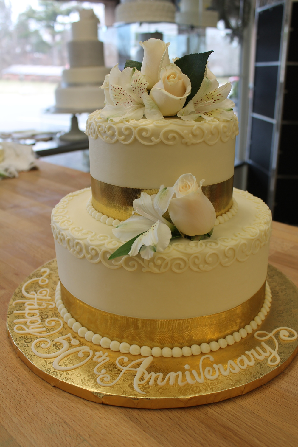Cream Roses and Gold Ribbon