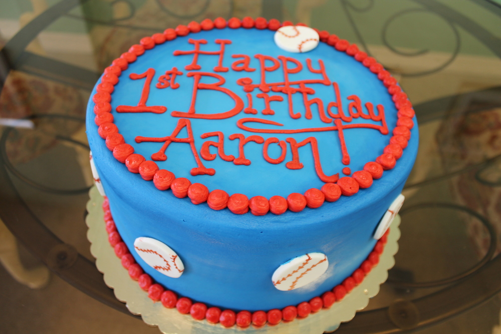 Blue Birthday Cake with Baseballs
