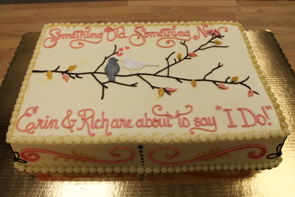 Love Birds on a Branch Shower Cake