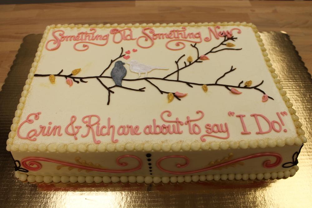 Love Birds on a Branch Shower Cake