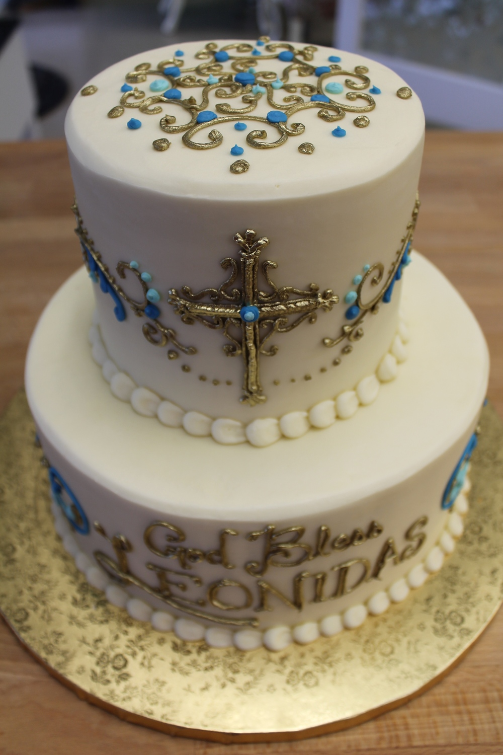 Jeweled, Metallic Cross Tier Cake