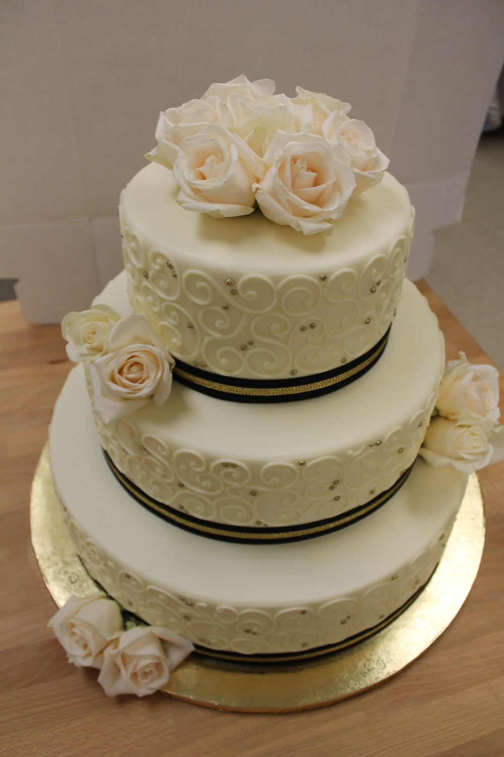 White Roses with Black and Gold Ribbon Wedding