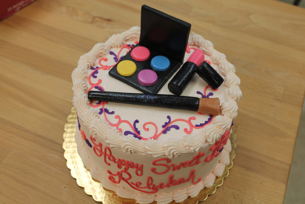 Lipstick and Eyeshadow Birthday Cake