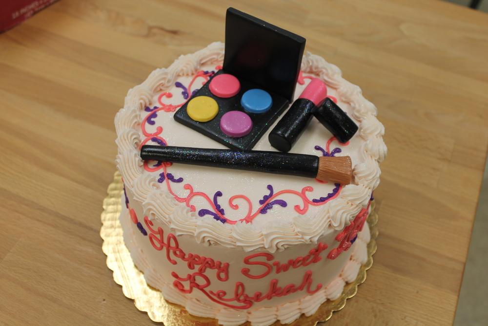 Lipstick and Eyeshadow Birthday Cake