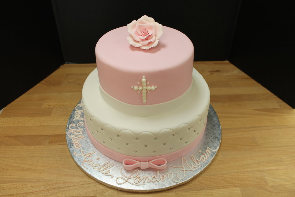 Elegant Pink and White Christening Cake