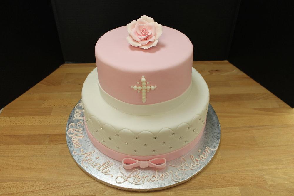 Elegant Pink and White Christening Cake