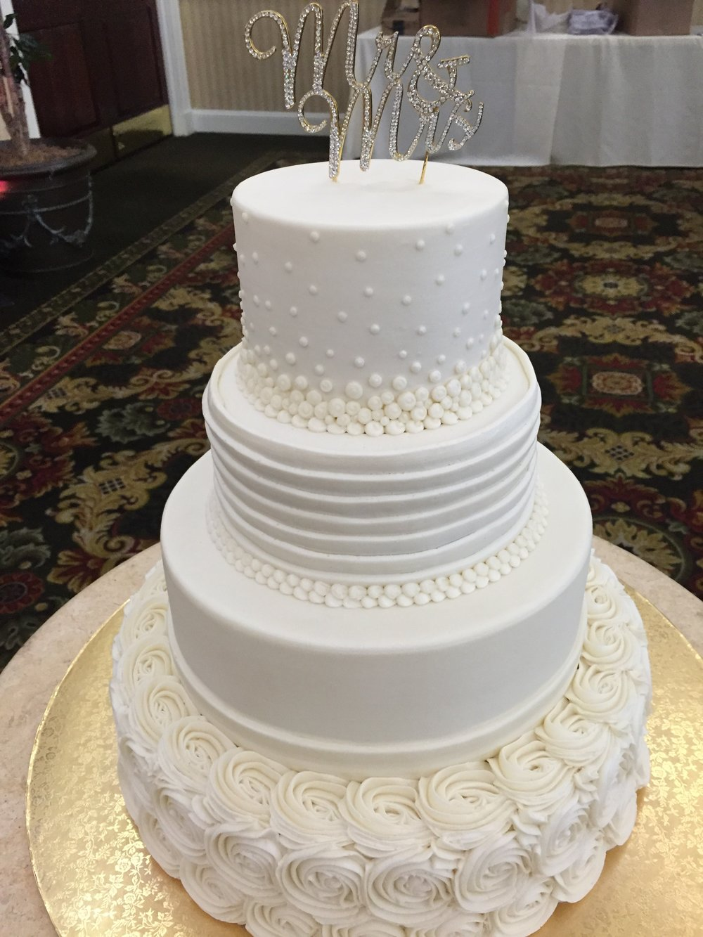 Rosettes, Ruffles and Pearls Wedding Cake