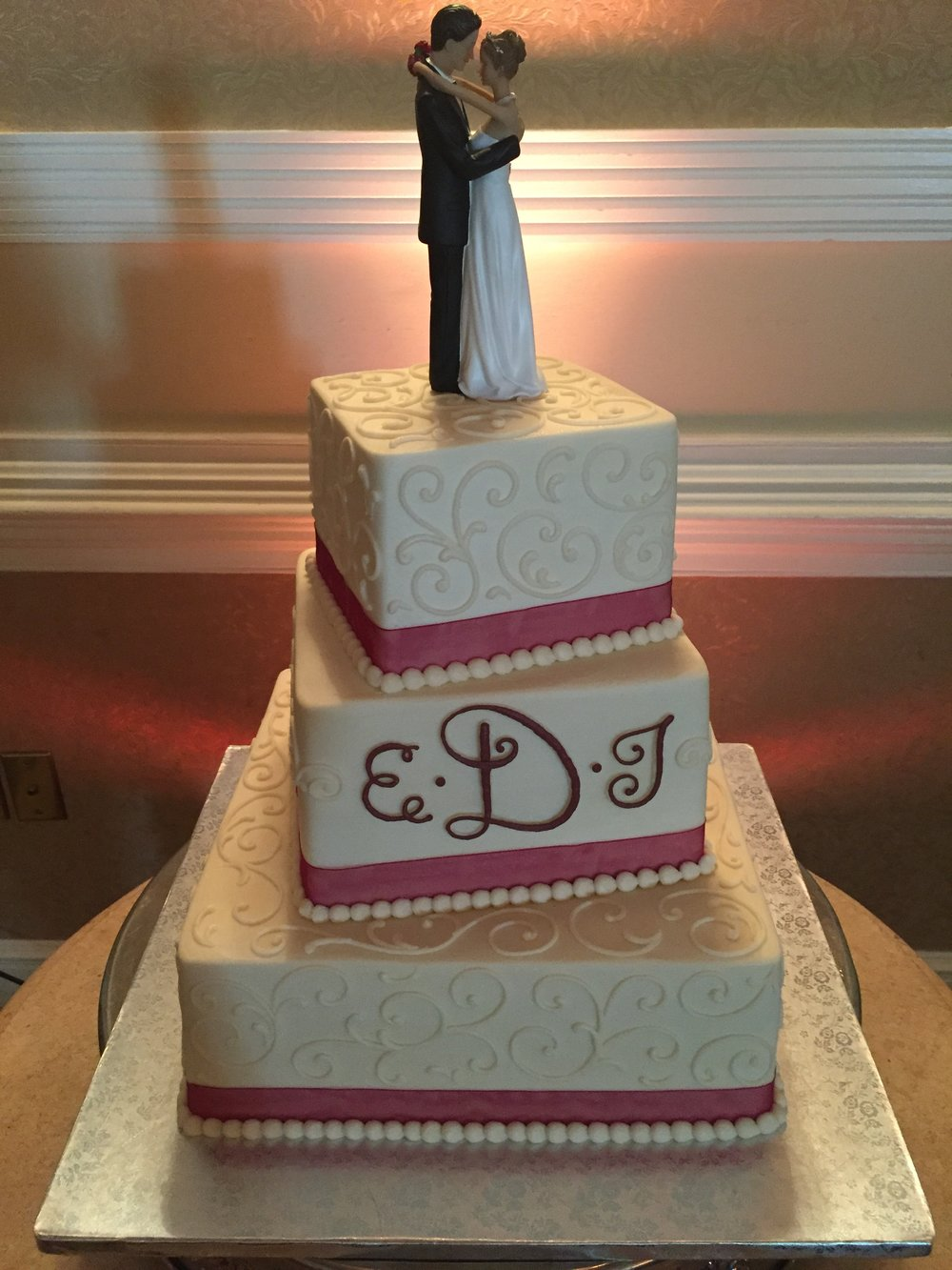 Staggered Squares Wedding Cake