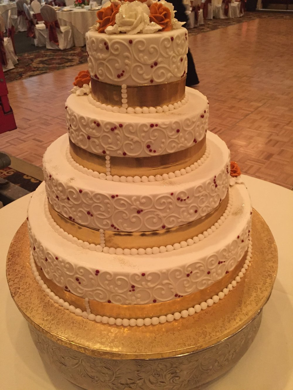 4 Tier Scrollwork and Gold Ribbon