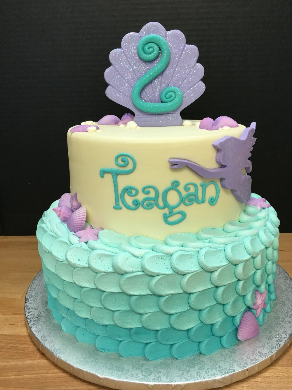 Mermaid Themed Ombre Birthday Cake