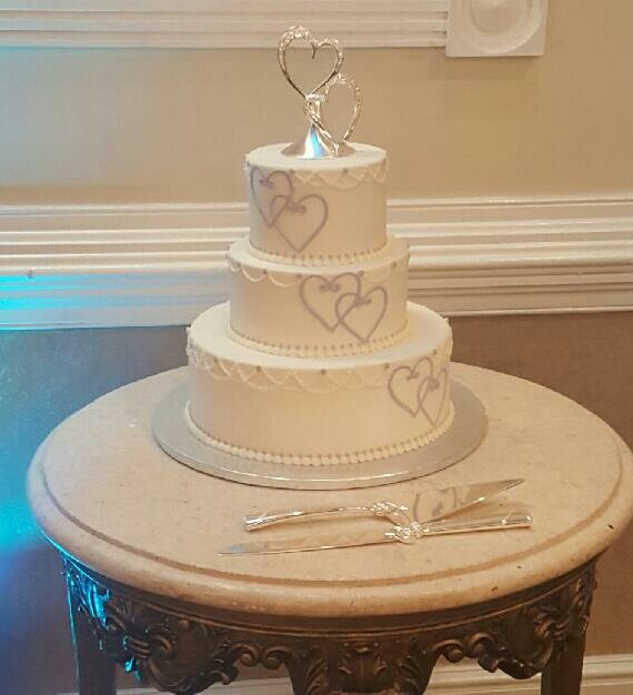 Silver Hearts Wedding Cake