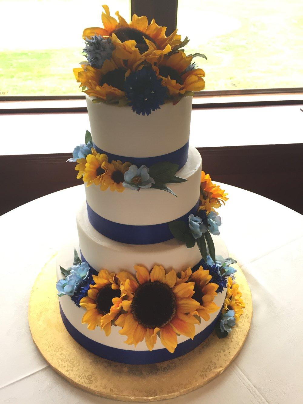 Blue Ribbon with Sunflowers Wedding Cake