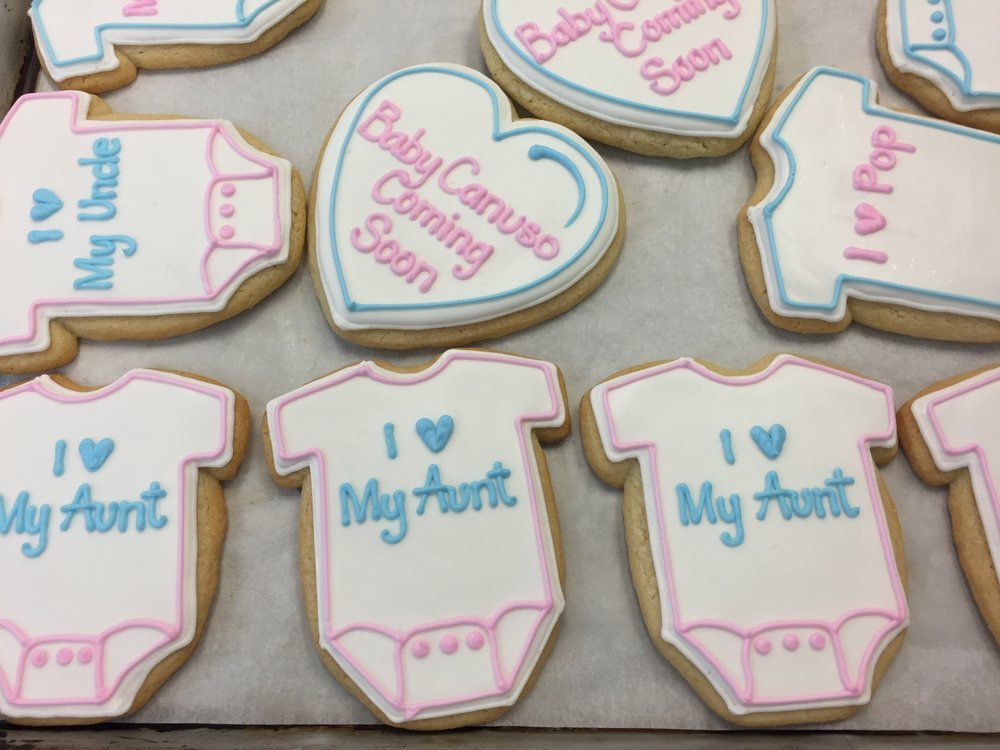 Baby Shower Onesie and Heart Cookies