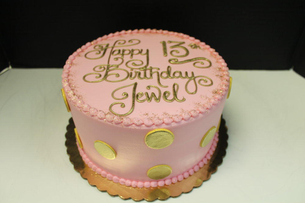 Pretty Pink and Gold Birthday Cake