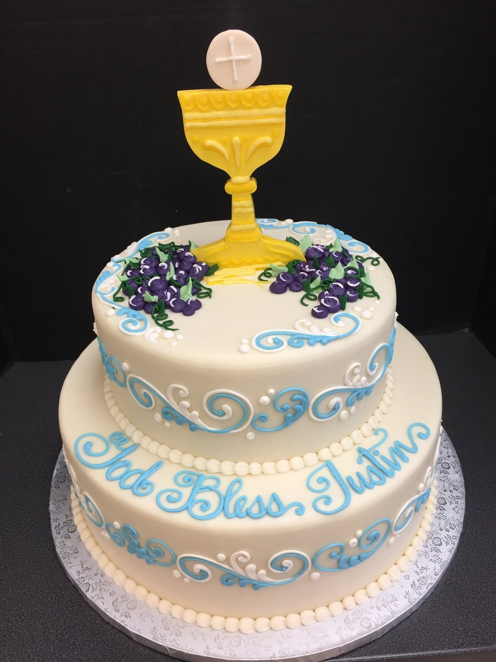 2 Tier with Cross and Grapes