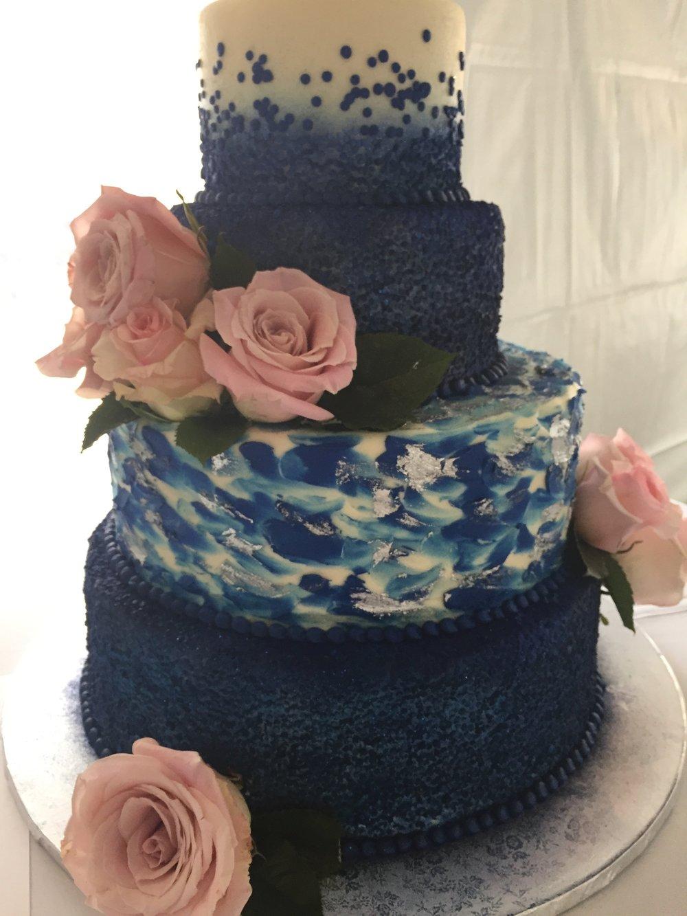 Navy Sequins Wedding Cake