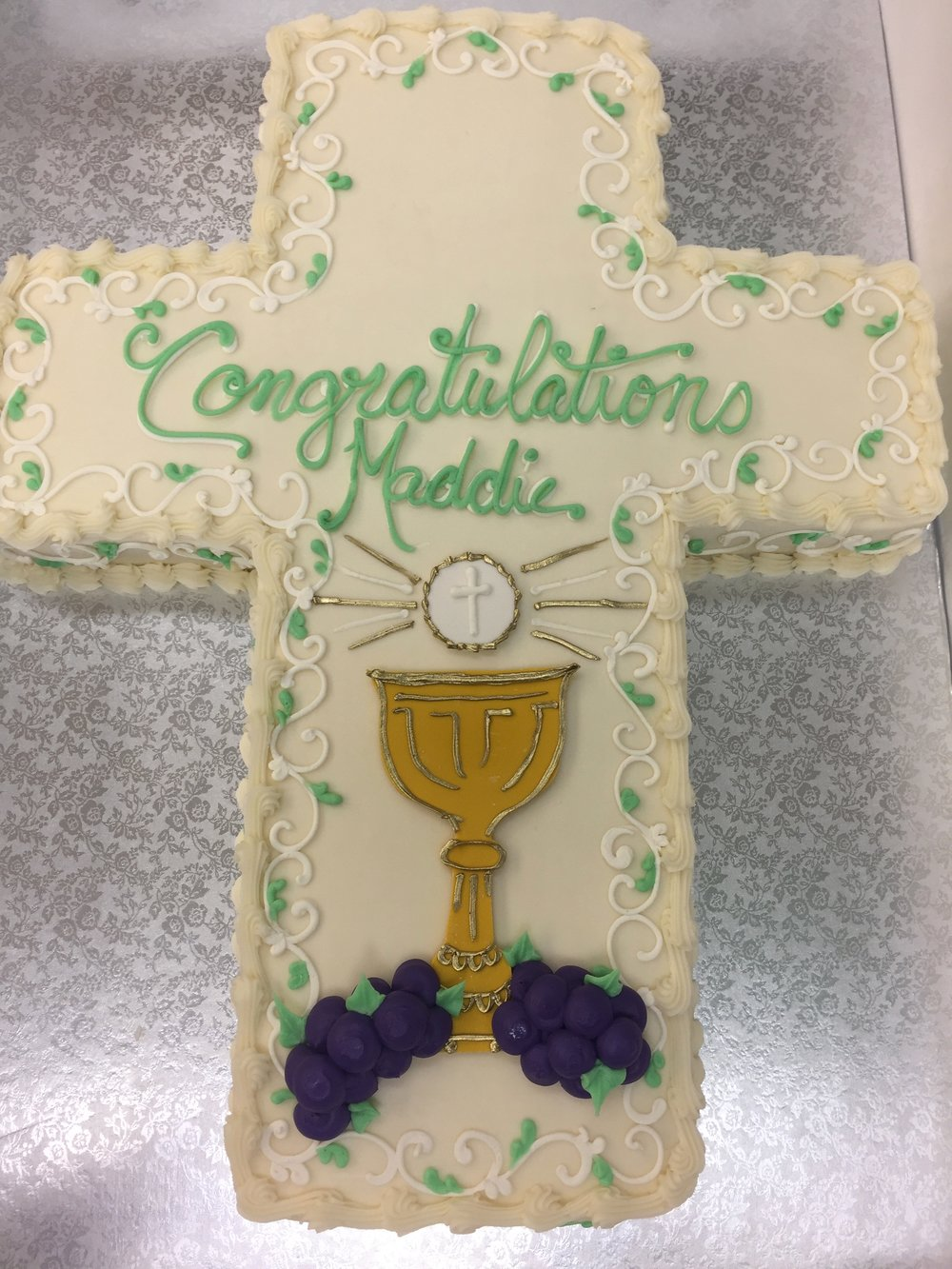 Golden Chalice on a Cross Cake