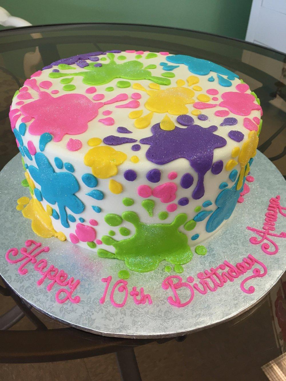 Paint Splatter Birthday Layer Cake