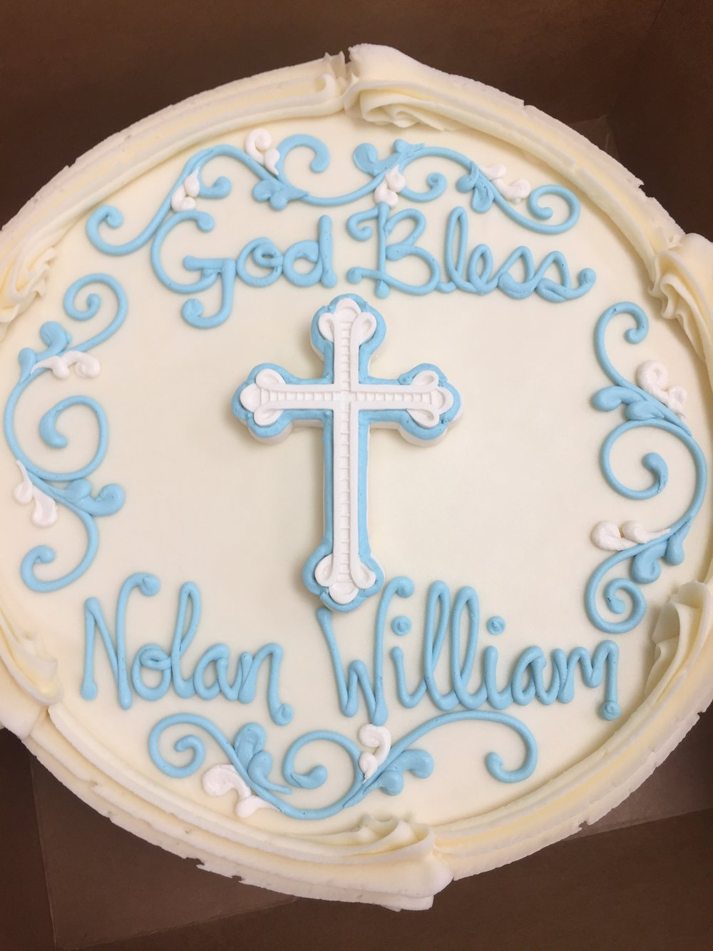 White and Blue Fondant Cross for a First Holy Communion