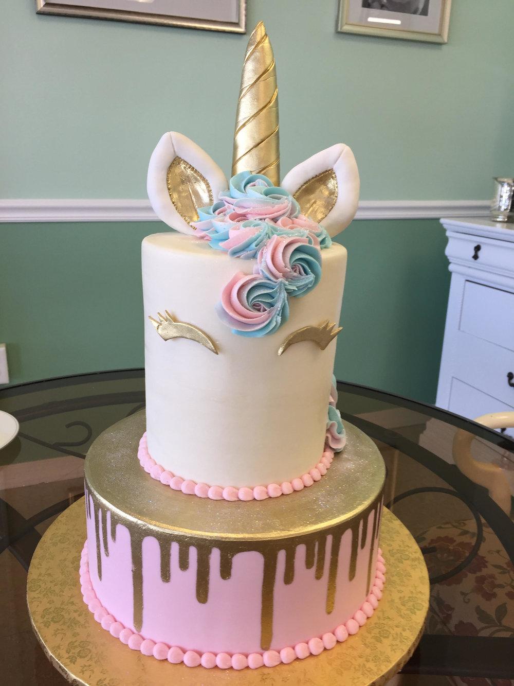 Pretty Two Tier Unicorn Cake