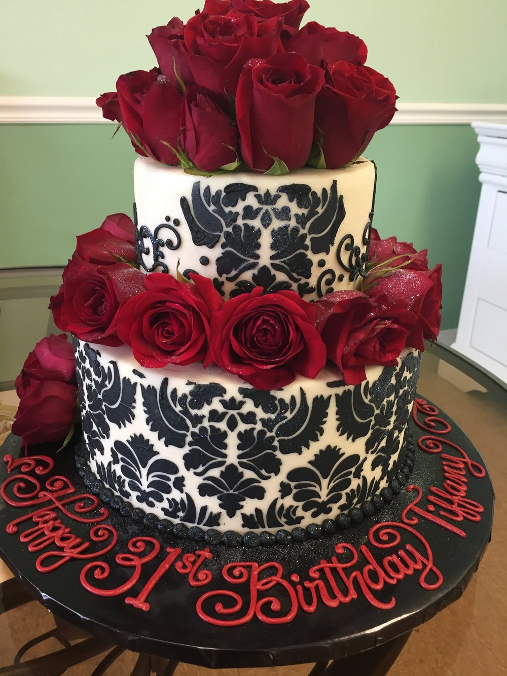 Damask and Red Roses