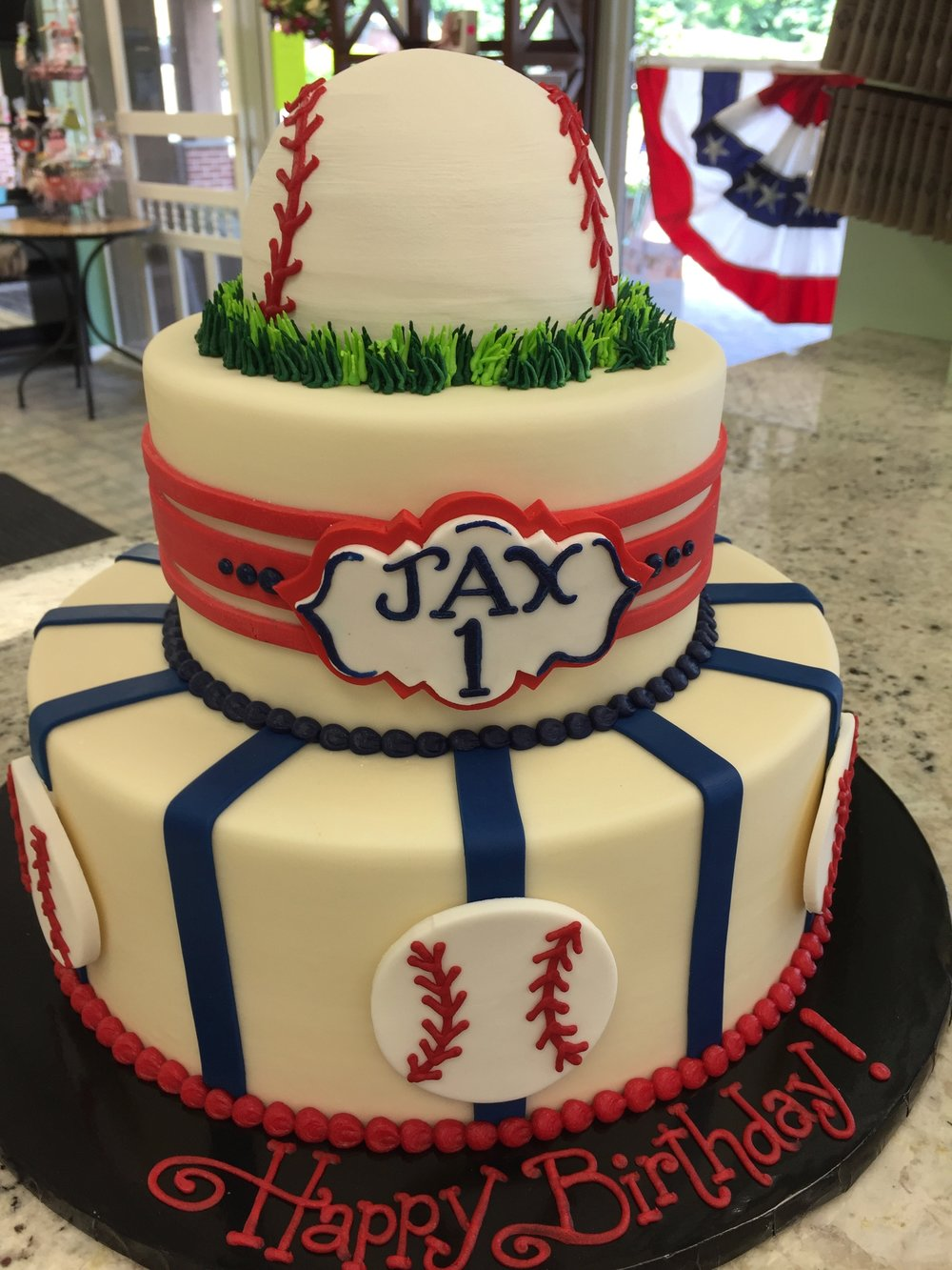 Baseball Themed Tier for a 1st Birthday