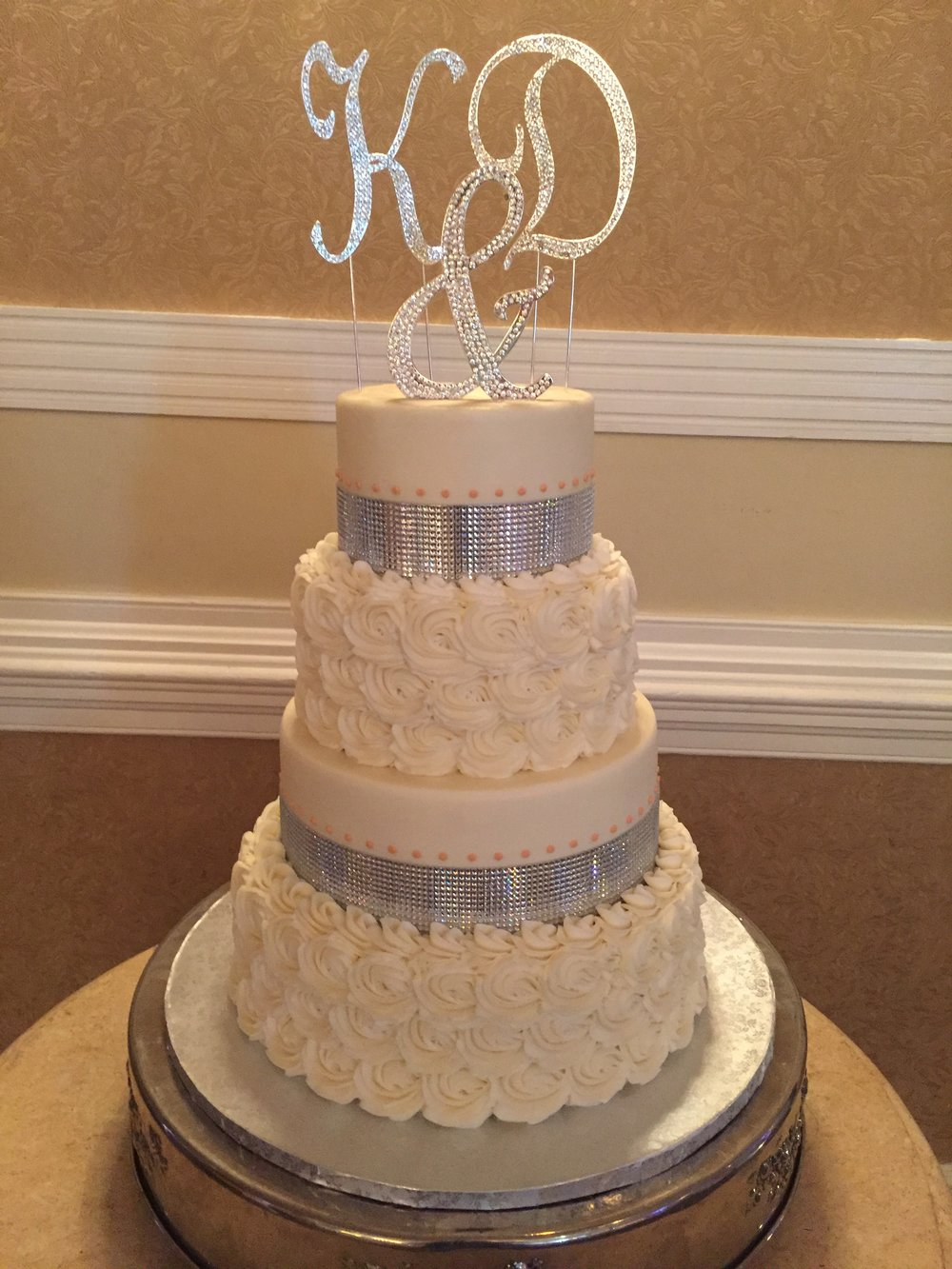 Silver with Peach Accents Wedding Cake
