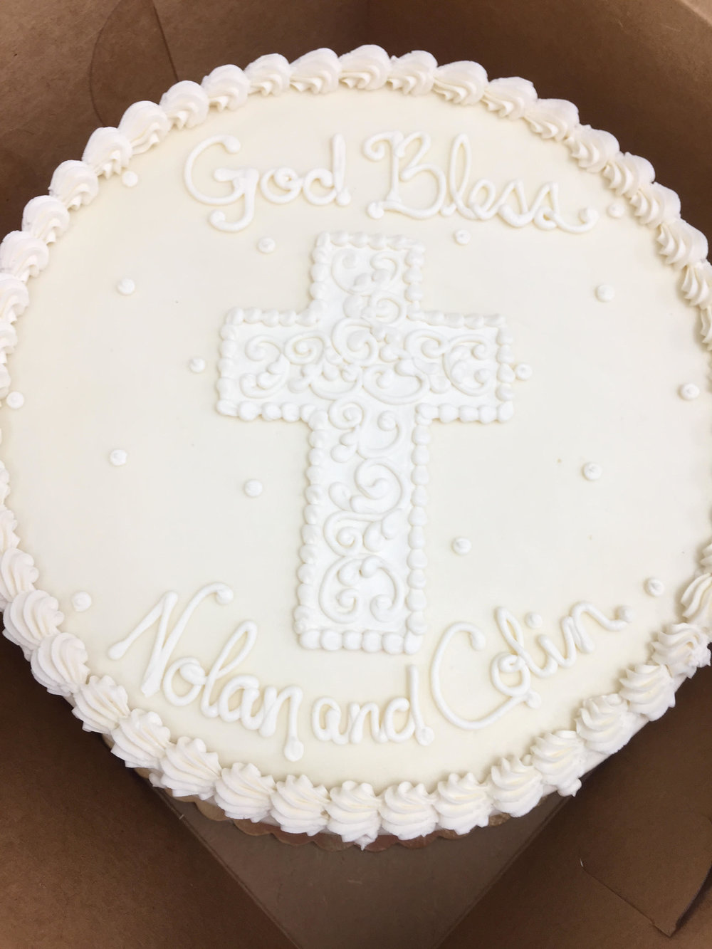 White and White Christening Cake