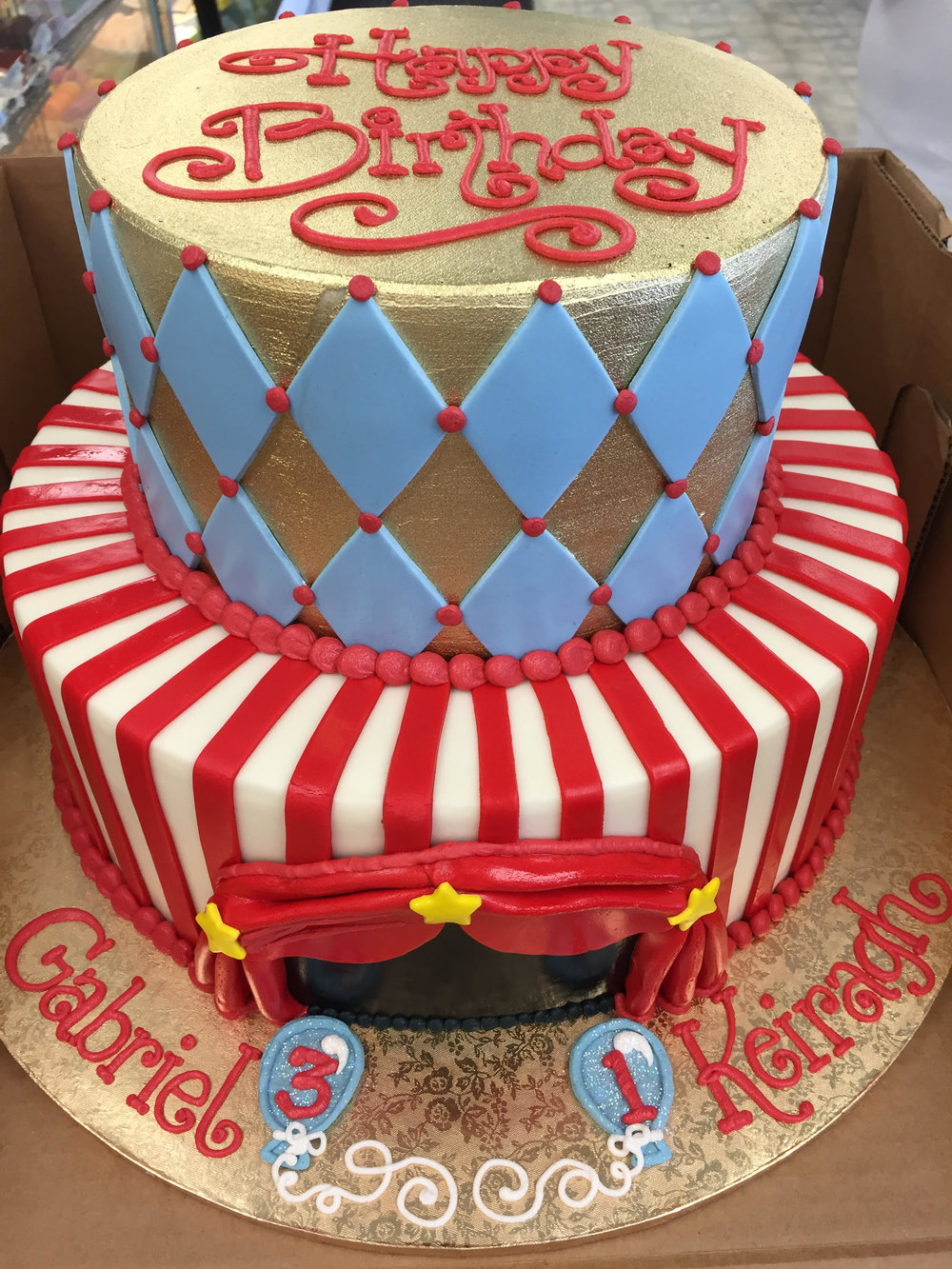 Double Circus Fun Birthday Cake