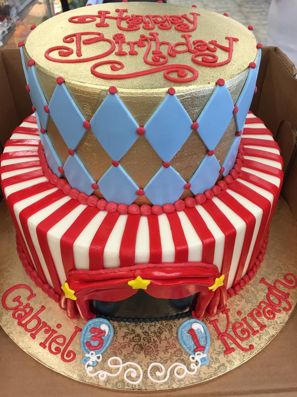 Double Circus Fun Birthday Cake