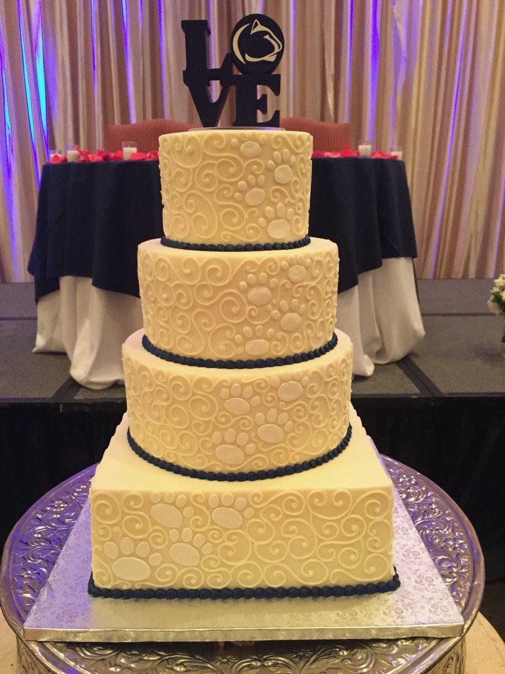 Penn State Bride and Groom Wedding Cake