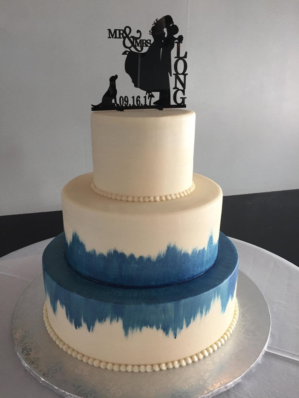 Painted Blue Wedding Cake