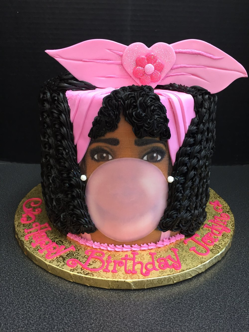 Pink Bow and Bubble Gum Cake