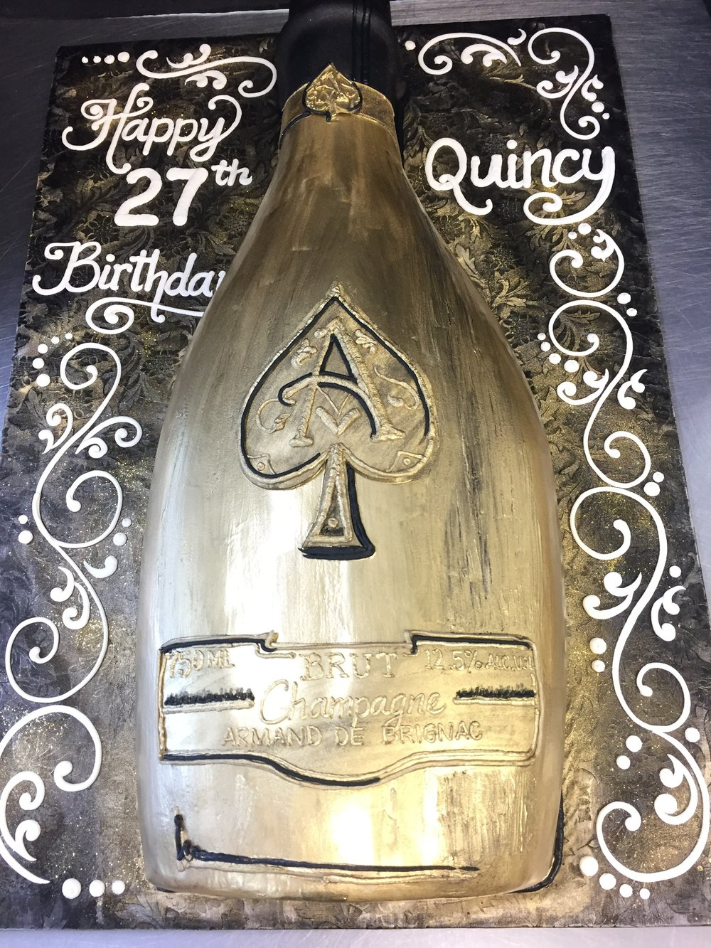 Golden Bottle Birthday Cake