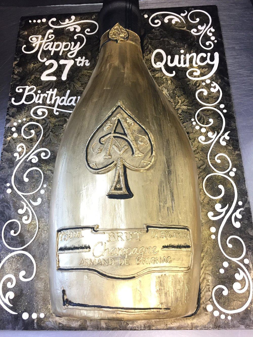 Golden Bottle Birthday Cake