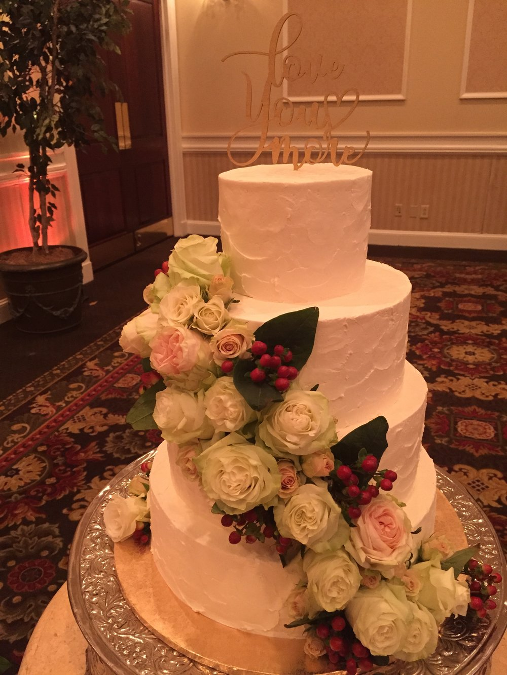White Roses and Berries Wedding Cake