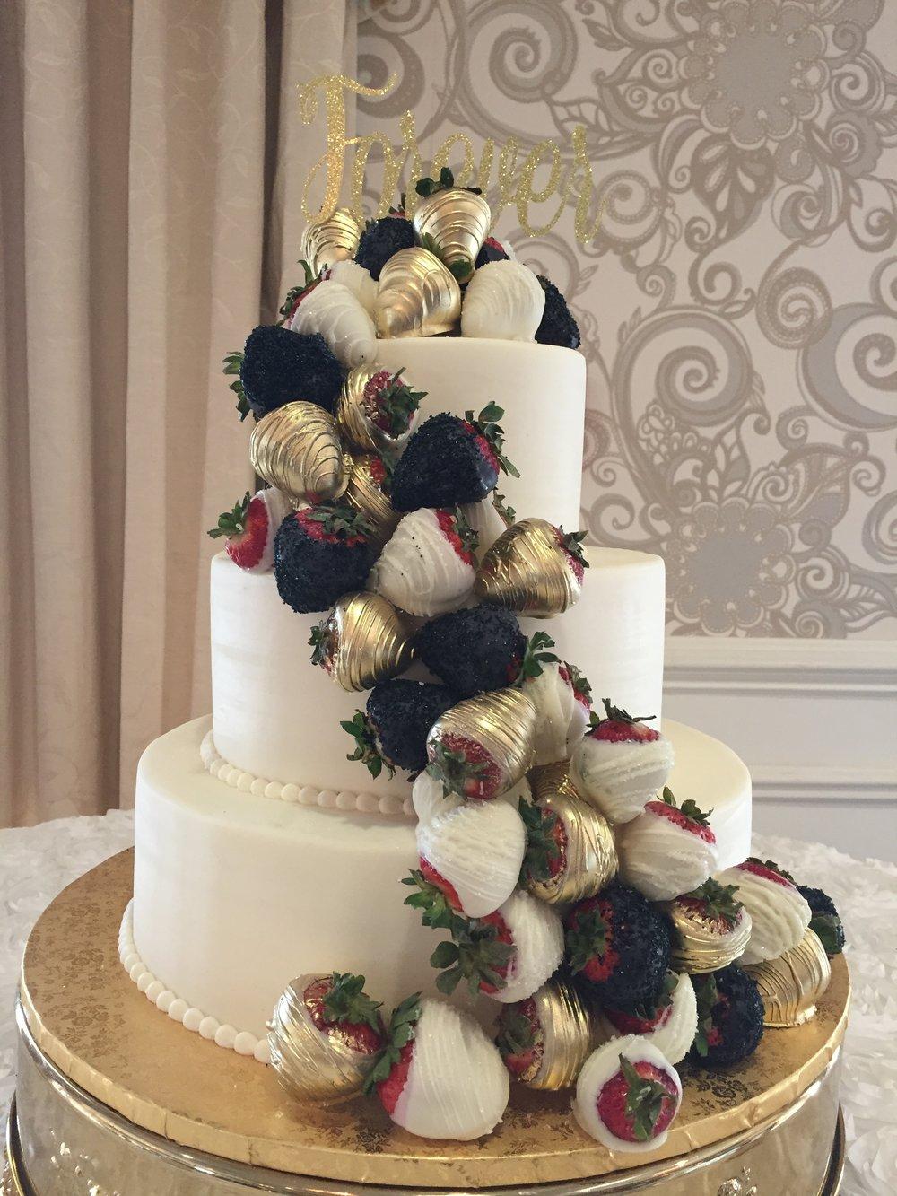 Golden Strawberries Wedding Cake