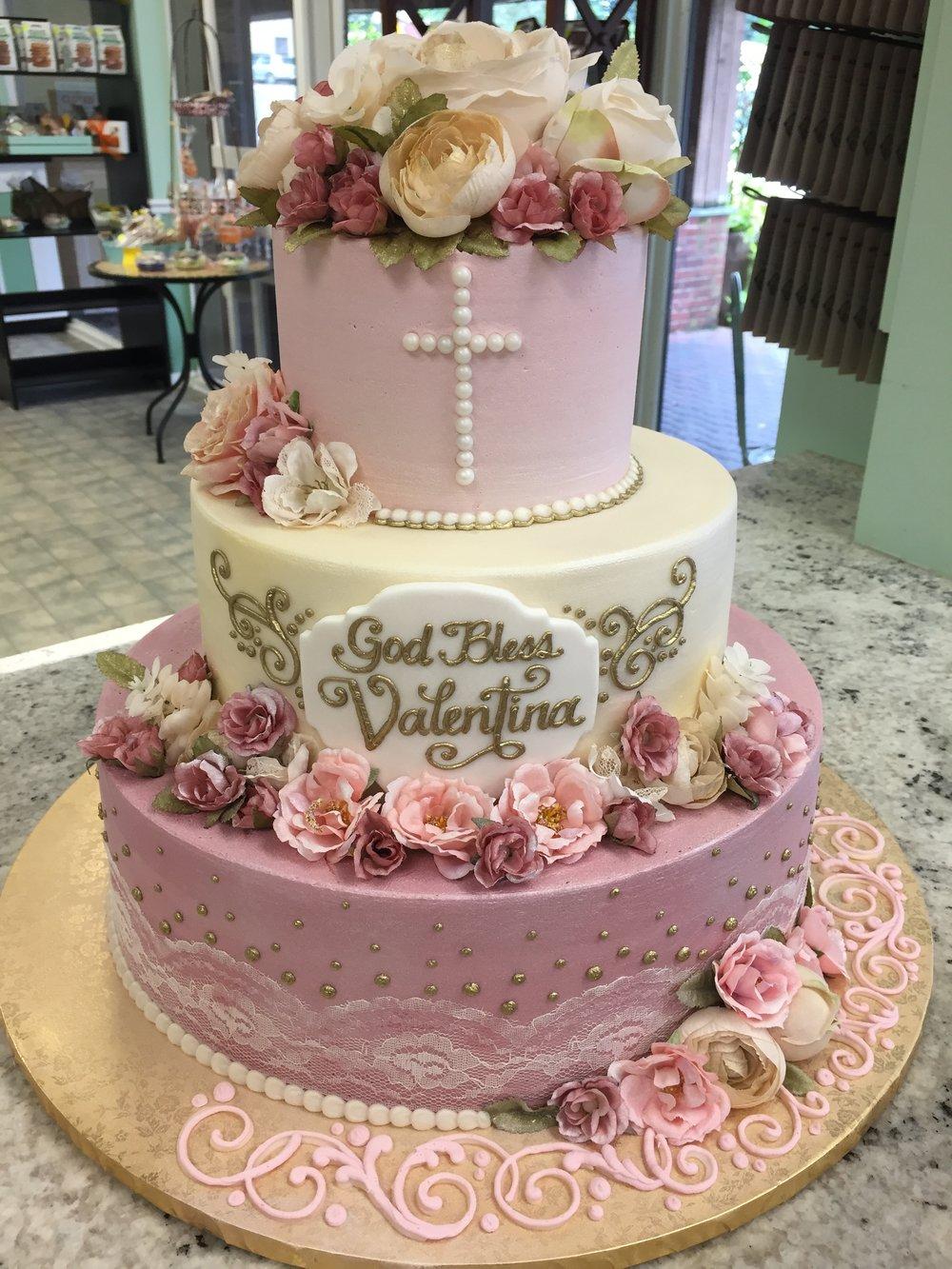 Vintage Pink Lace Christening Cake