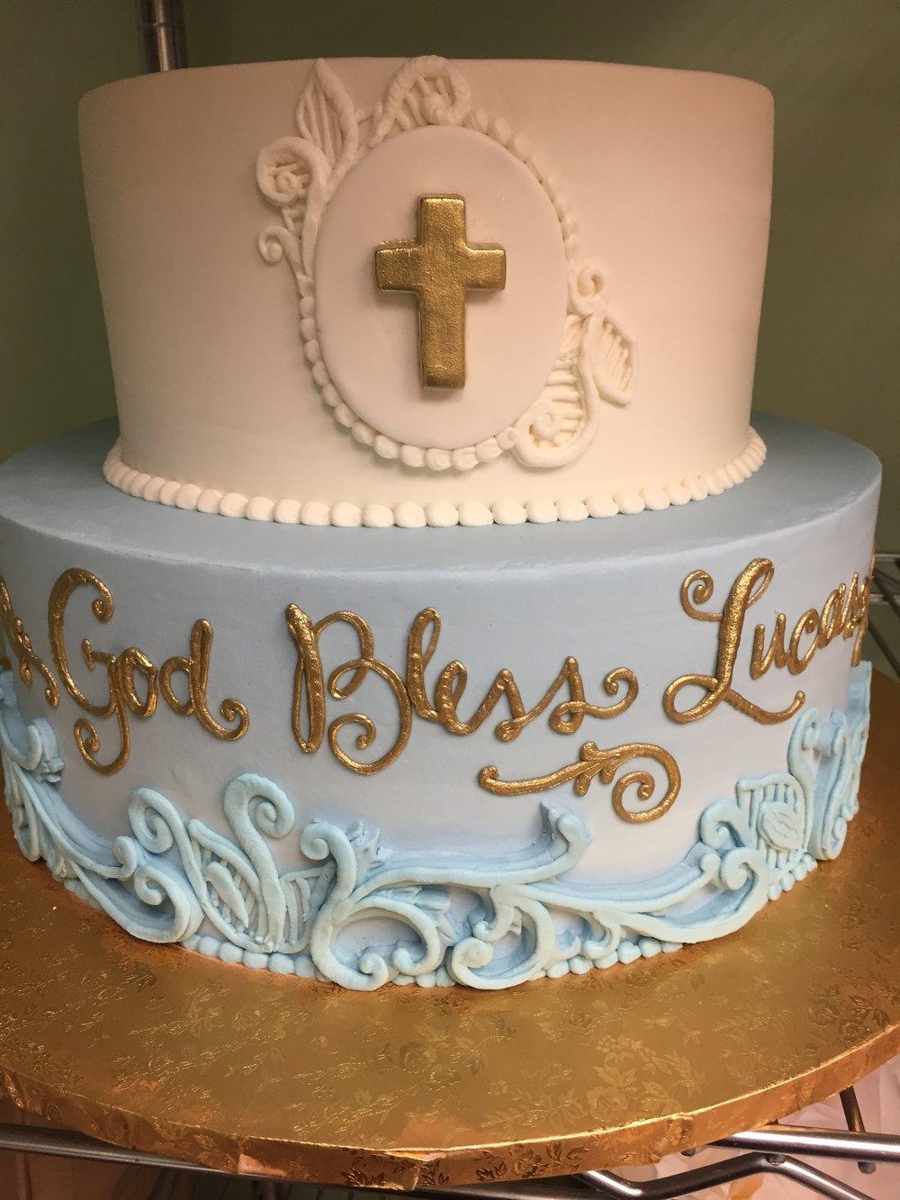 Elegant Blush and Blue Christening Cake