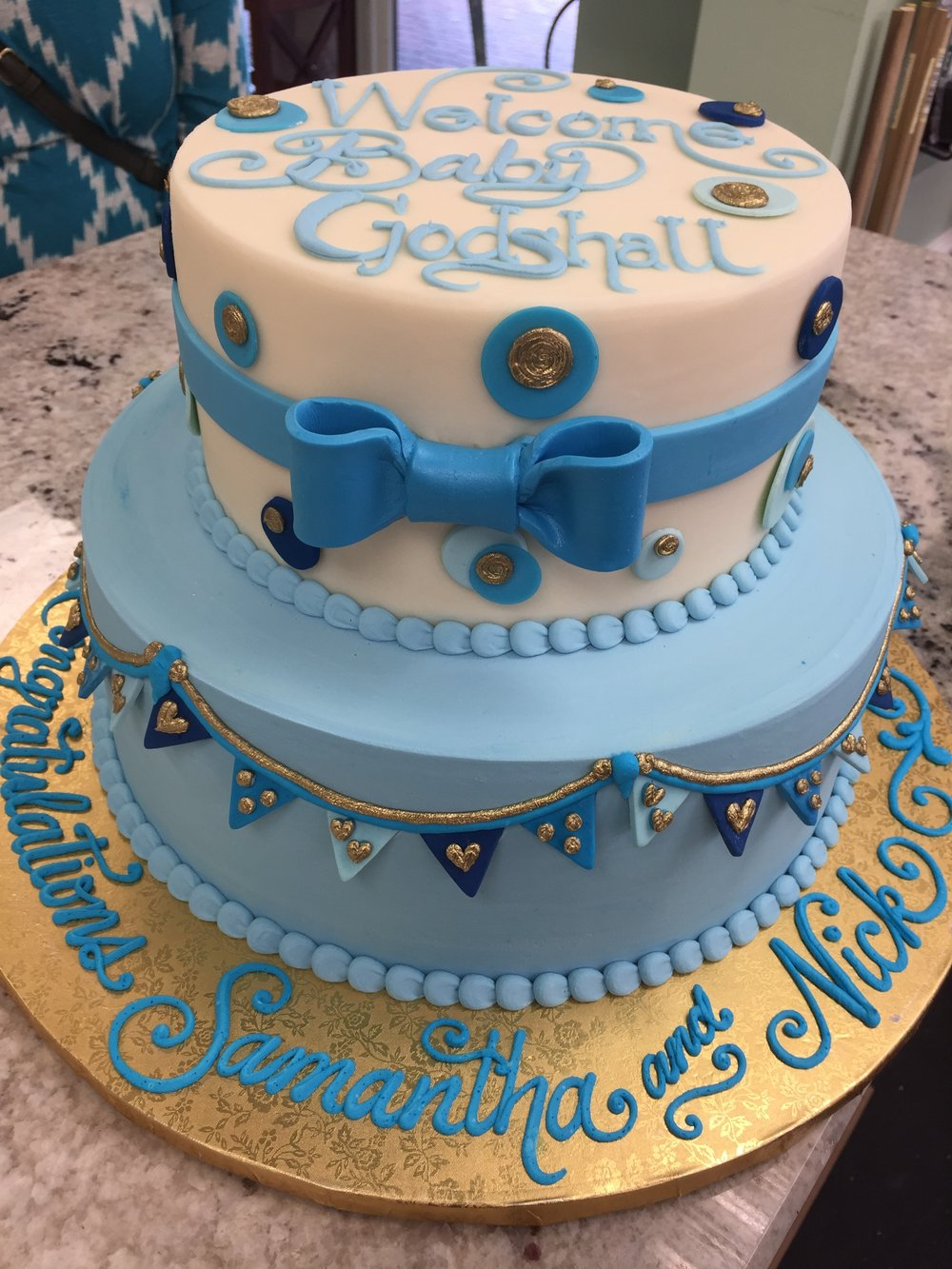 Banners and Bow Baby Tier Cake