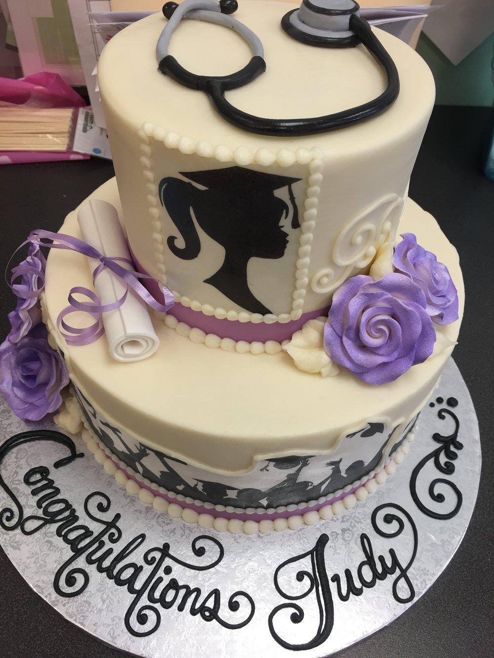 Nursing Grad with Stethoscope Cake
