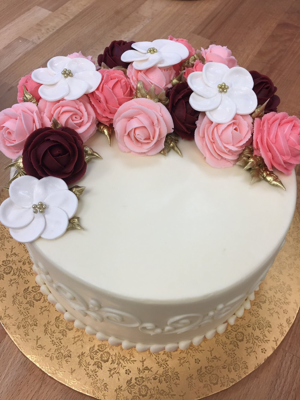 Pink and Coral Flower Cake